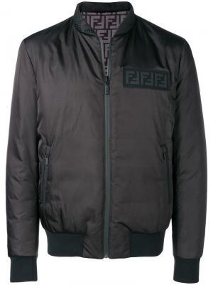Двусторонняя дутая куртка-бомбер Fendi. Цвет: чёрный