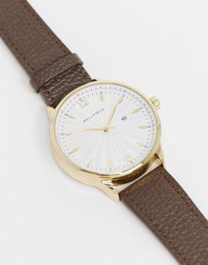 Часы с коричневым кожаным ремешком и золотистым циферблатом -Коричневый Bellfield