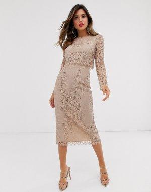 Кружевное платье-футляр миди с длинными рукавами -Бежевый ASOS DESIGN