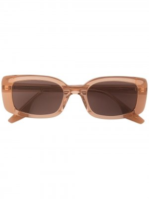 Солнцезащитные очки в прямоугольной оправе Gentle Monster. Цвет: коричневый