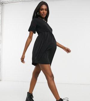 Черное очень свободное платье с присборенной юбкой и рукавами в виде оборок Flounce Maternity-Черный London Maternity