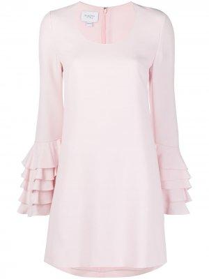 Платье с оборками на рукавах Giambattista Valli. Цвет: розовый