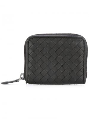 Кожаный кошелек с плетеным узором Bottega Veneta. Цвет: черный