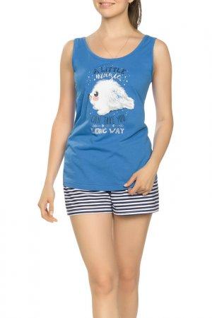 Комплект - майка, шорты Pelican. Цвет: синий(41)