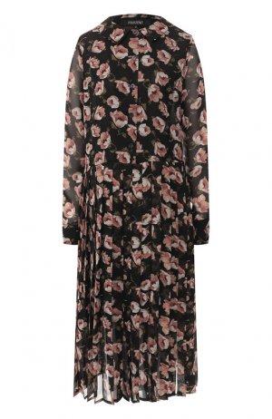 Платье-миди с принтом Poustovit. Цвет: черно-белый