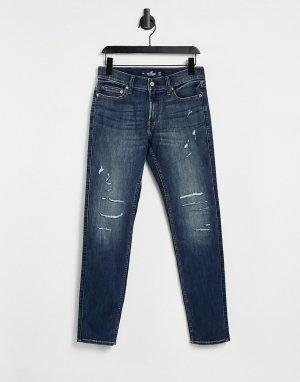 Темно-выбеленный зауженные джинсы с эффектом потертости -Голубой Hollister