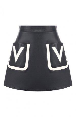 Кожаная юбка Valentino. Цвет: темно-синий