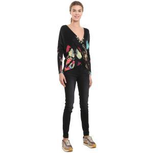 Пуловер с запахом и цветочным рисунком DESIGUAL. Цвет: черный наб. рисунок