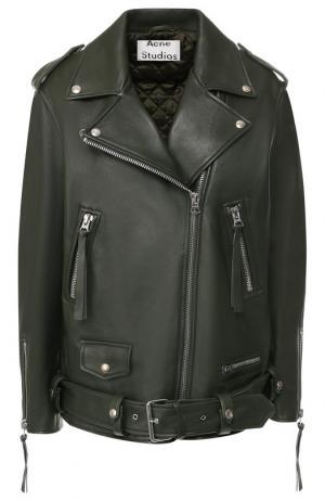 Кожаная куртка с поясом и косой молнией Acne Studios. Цвет: хаки