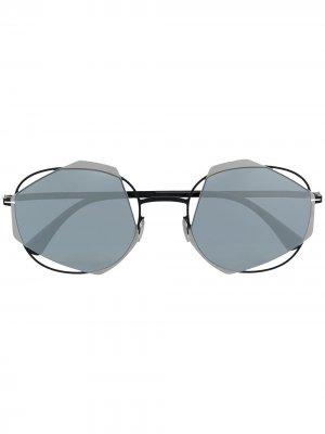 Солнцезащитные очки в геометричной оправе Mykita. Цвет: черный