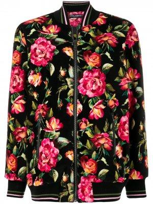 Куртка бомбер с цветочным принтом Dolce & Gabbana. Цвет: разноцветный