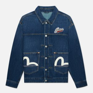 Мужская джинсовая куртка Heritage Printed Godhead Flag Daruma Embroidered Evisu. Цвет: синий