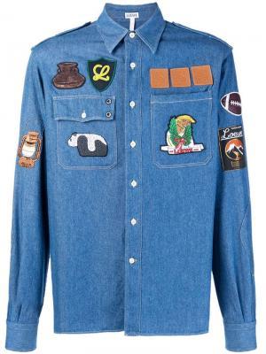 Джинсовая куртка с нашивками Loewe. Цвет: синий