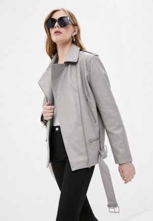 Куртка кожаная Sela. Цвет: серый