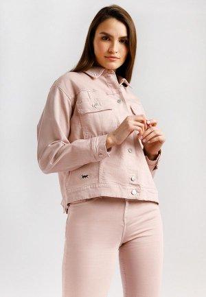Куртка джинсовая Finn Flare. Цвет: розовый
