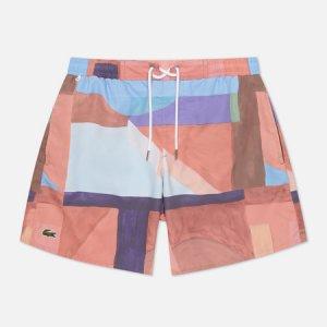 Мужские шорты Lace-Up Waist Print Swim Lacoste. Цвет: розовый