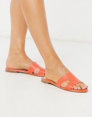 Оранжевые сандалии-слипоны на плоской подошве -Оранжевый Dune