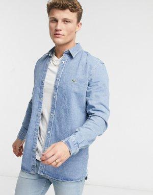 Джинсовая рубашка на кнопках -Голубой Lacoste