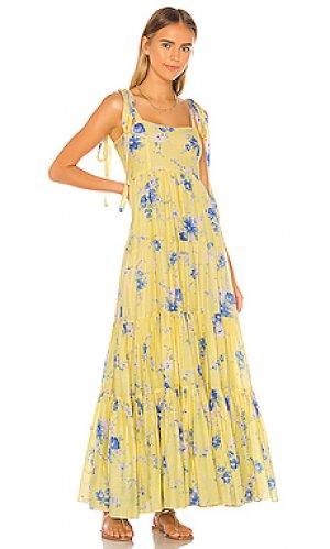 Летнее платье burrows LoveShackFancy. Цвет: желтый