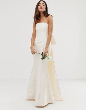 Свадебное платье с лифом-бандо и бантом -Белый ASOS EDITION