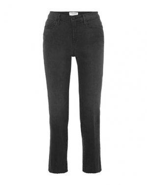 Джинсовые брюки-капри FRAME. Цвет: стальной серый