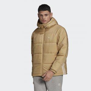 Утепленная куртка с капюшоном Originals adidas. Цвет: бежевый