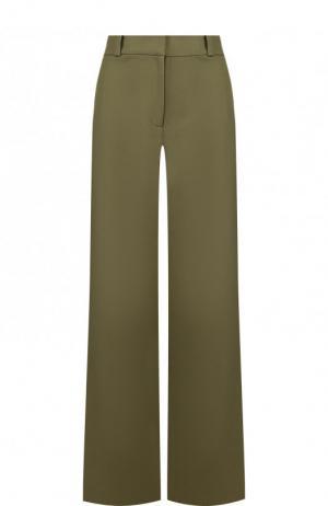 Однотонные расклешенные брюки из хлопка Oscar de la Renta. Цвет: хаки