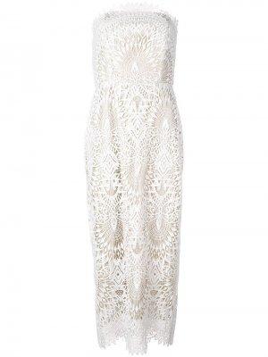 Платье без бретелей с вышивкой Badgley Mischka. Цвет: белый