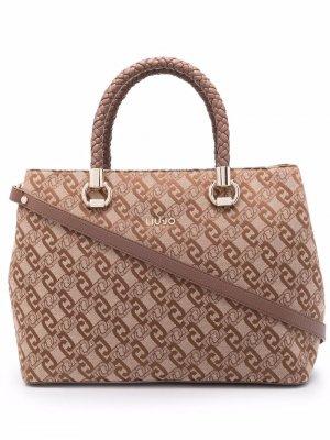 Жаккардовая сумка на плечо LIU JO. Цвет: коричневый