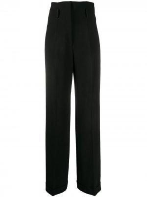 Креповые брюки с завышенной талией Alberta Ferretti. Цвет: черный