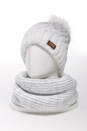 Комплект: шапка, снуд JAGGA. Цвет: белый, светло-серый