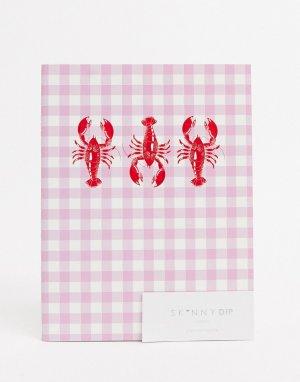 Блокнот с принтом в виде лобстера -Розовый Skinnydip