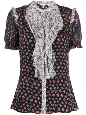 Блузка Vita с оборками и принтом Liberty London. Цвет: синий