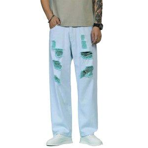 Мужские рваные широкие джинсы SHEIN. Цвет: легко-синий
