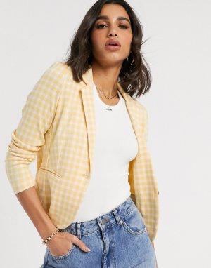 Приталенный пиджак в клетку -Мульти b.Young
