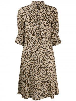 Платье-рубашка с анималистичным принтом Seventy. Цвет: нейтральные цвета