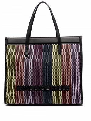 Большая плетеная сумка-тоут Karl Lagerfeld. Цвет: черный