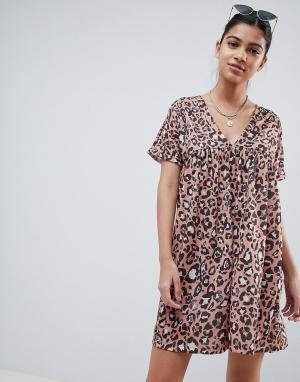 Свободное хлопковое платье с леопардовым принтом ultimate ASOS DESIGN. Цвет: мульти