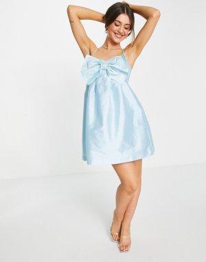 Голубое платье мини с присборенной юбкой и большим бантом -Голубой Forever New