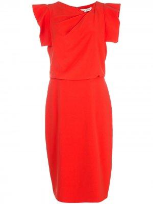 Драпированное платье миди Halston Heritage. Цвет: красный