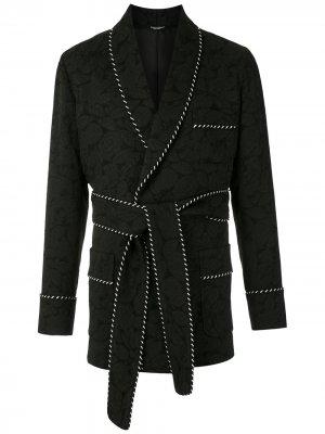 Жаккардовый жакет с поясом Dolce & Gabbana. Цвет: черный