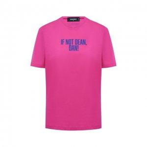 Хлопковая футболка Dsquared2. Цвет: розовый