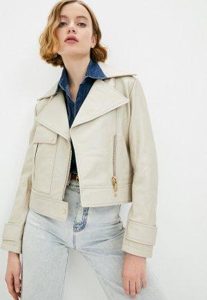 Куртка кожаная Trussardi. Цвет: бежевый