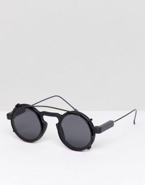 Черные солнцезащитные очки в круглой оправе Spitfire. Цвет: черный
