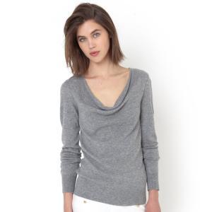 Пуловер с драпировкой на вырезе, 100% кашемира La Redoute Collections. Цвет: серый меланж,темно-синий,черный