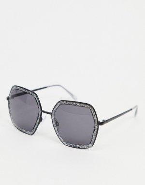 Черные солнцезащитные очки в форме шестиугольника с блестками -Черный цвет AJ Morgan