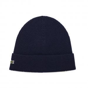 Вязаная шапка Lacoste. Цвет: темно-синий