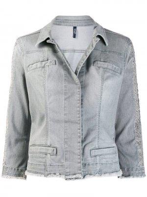 Джинсовая куртка с потертыми краями Liu Jo. Цвет: серый