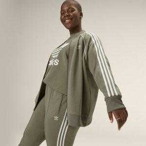 Олимпийка Primeblue SST (Plus Size) Originals adidas. Цвет: зеленый