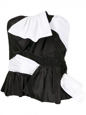 Двухцветная блузка без бретелей Carolina Herrera. Цвет: черный